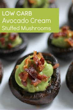 Try this easy and tasty appetizer recipe for your next game day get together. Low carb stuffed mushrooms with avocado cream and bacon. Basically zero carbs with tons of flavor.