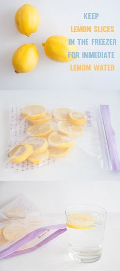 Keep Lemon Slices in the freezer for immediate Lemon Water | ElephantasticVegan.com