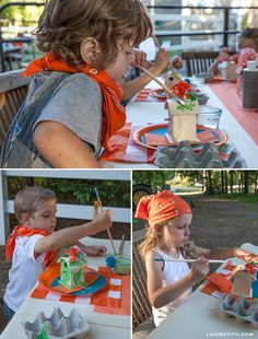 Farm Party Kids Painting. Ka-Yute! Love the woven crepe paper - inexpensive way to bring color to the table.