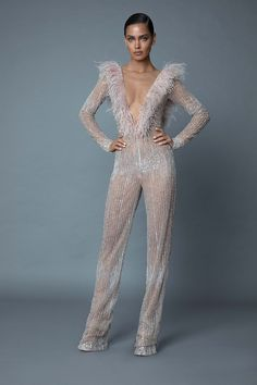 Dancing Queen Sequins and Feathers Jumpsuit, XXS / Silver Jumpsuit Elegante, Sequin Jumpsuit, Trendy Fashion, Fashion Show, Fashion Outfits, Fashion Design, 50 Fashion, Fashion Styles, Dress Skirt