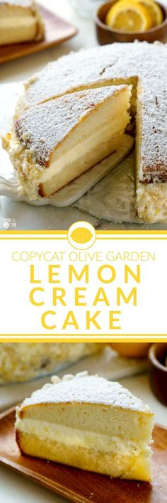 This Copycat Olive Garden Lemon Cream Cake is completely homemade, and is every bit as good as the original—and dare I say, even better!   Lemon Dessert   Lemon Cake   Olive Garden Copycat   Easter Recipe   Easter dessert Recipe