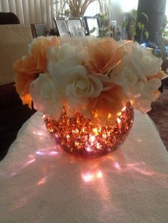 Lighted centerpiece that was used for church luncheon. Water Centerpieces, Bridal Shower Centerpieces, Quinceanera Centerpieces, Simple Centerpieces, Centerpiece Ideas, 60 Wedding Anniversary, Anniversary Parties, Quince Decorations, Reception Decorations