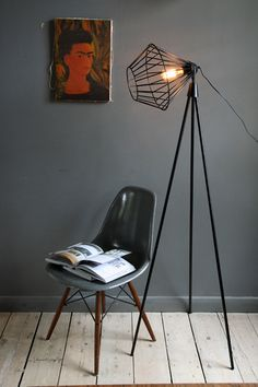 Tripod Floor Lamp and Fiberglass Side shell on Dowel Base | http://modernica.net/dowel-side-shell.html