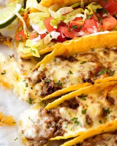 Close up of Beef Taco recipe, fresh out of the oven, with taco meat and melted cheese beef main dishes Baked Beef Tacos Homemade Taco Seasoning, Homemade Tacos, Seasoning Recipe, Lunch Recipes, Dinner Recipes, Cooking Recipes, Yummy Recipes, Recipies, Mexican Dishes