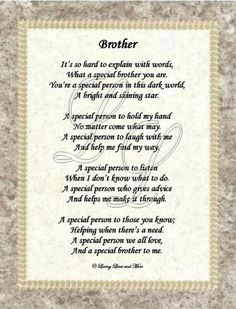 poem for brother birthday - Google Search