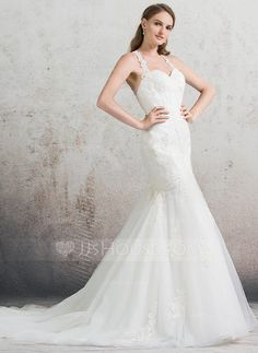 Trumpet/Mermaid Sweetheart Chapel Train Zipper Up Regular Straps Sleeveless Church General Plus No Spring Summer Fall Ivory Tulle Lace Wedding Dress
