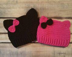 Artículos similares a Crochet el sombrero Animal, sombrero de gato, gorrita tejida del ganchillo, sombrero de orejas de gato, conjunto primavera, niño sombrero, gorro de gato, sombrero gris, traje de las niñas, sombrero del invierno en Etsy