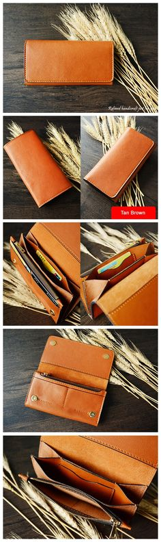 Custom Handmade Vegetable Tanned Italian Leather Wallet Card Holder Money Purse Clutch