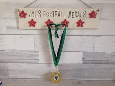 Personalised medal holder, hooks for medals, wooden sign with hooks, hang your medals, sport achiev Football Medals, Medal Holders, Christmas Eve Box, Personalised Box, Kids Decor, Wooden Signs, Hooks, I Am Awesome, Mason Jars