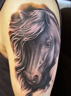 horse tattoo on half sleeve - 40 Awesome Horse Tattoos New Tattoos, Small Tattoos, Cool Tattoos, Horse Tattoo Design, Tattoo Designs, Tattoo Ideas, Tattoo Girls, Animal Tattoos, Horse Tattoos