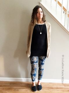 LuLaRoe Julia dress as a tunic with tiger leggings and a cardigan for spring and winter fashion trends and style inspiration. Shop here: https://www.facebook.com/groups/LularoeKaraMiller/