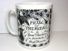 Pride & Prejudice Mug, Vintage Book Themed Mug, Peacock Book Mug, Jane Austen, UK