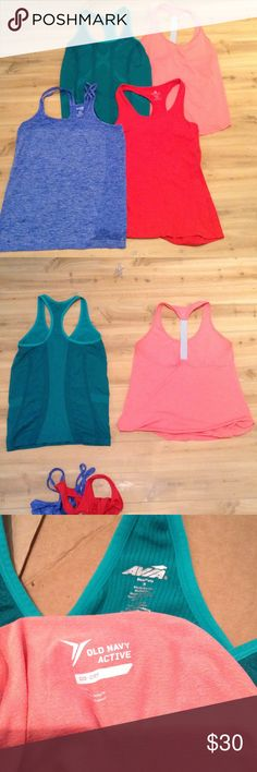Size Small Work Out Tank Bundle 4 cute top bundle. Green is Avia, pink is old navy active, red is 90 degrees by reflex and the blue is danskin now. Old Navy Tops Tank Tops