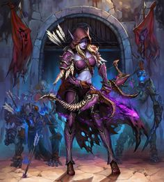 Blizzard_My queen – fan art by Jiangfeng Feng Dark Fantasy Art, Fantasy Girl, Fantasy Artwork, World Of Warcraft Game, Warcraft Art, Fantasy Character Design, Character Art, Sylvanas Windrunner, Elfa