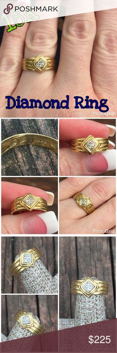 18k Gold Vintage ~.05 cttw Diamond Band Ring Very Pretty 18k Yellow Gold Vintage Diamond Band Ring. Size 5.75, sizable some because the design doesn't go completely around the band. Marked w/ initials R-P-C. Tested & confirmed 18k gold. Weight 2.84 grams. The ring has 4 small diamonds that equal .05 cttw. The ring is in really good vintage condition! Would make a great gift! Thanks 4 looking. I ship same day. Ask all ?'s b4 purchase. Buy w/ confidence 365 5 star feedback. Please make…