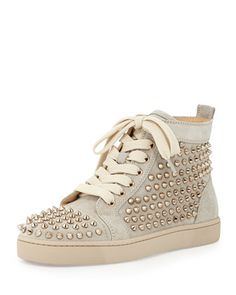 Louis+Spiked+Suede+Sneaker,+Colombe+by+Christian+Louboutin+at+Neiman+Marcus.