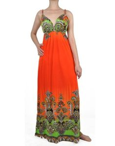 Orange Paisley Summer Boho Maxi Dress - I get lots of compliments on this one