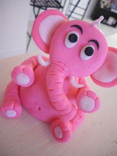 Pink Elephant! pink elephants, fondant cakes, cake toppers