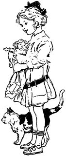 Black & white clip art ~ little girl with baskets of