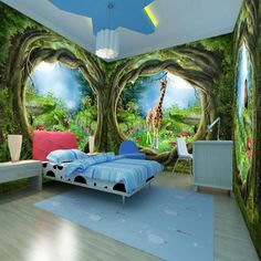 Custom 3D Photo Wallpaper Forest Tree Animals Nature Home Mural for child Girls and boys bedroom kindergarten Wallpapers