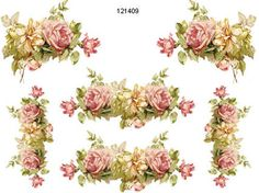 XL KLeiN PinK & YeLLow RoSe CoRNeRs & SWaGs SHaBbY WaTerSLiDe DeCALs in Tole Decals & Transfers | eBay