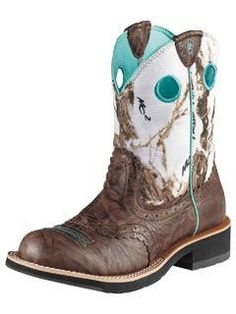 Ariat Women's Brown / White Camo Fatbaby Cowgirl Boots