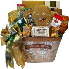"""A gift designed to show your appreciation with flare and gourmet flavor. The gift container says it all with """"A World of Thanks"""" imprinted on a charming ol Art of Appreciation Gift Baskets A World of Thanks Gourmet Food and Snacks Gourmet Gifts, Food Gifts, Gourmet Recipes, Holiday Gift Baskets, Holiday Gifts, Breakfast Basket, Corporate Gift Baskets, Gourmet Popcorn, Gourmet Cookies"""