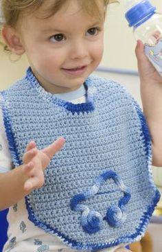 Two Cute Crochet Baby Bibs to Make: Beep-Beep Bib. Free Pattern More Patterns Like This! Crochet Baby Bibs, All Free Crochet, Crochet Baby Clothes, Crochet For Boys, Easy Crochet Patterns, Cute Crochet, Knitting Patterns, Cotton Crochet, Love Knitting