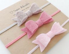 Items similar to Itty Bitty Bows/ Newborn Baby Headband/ Baby Bow Headband / Baby Girl Headband/ Headband Set / baby headbands- baby felt headbands on Etsy Diy Baby Headbands, Felt Headband, Baby Bows, Crochet Headbands, Baby Crafts, Felt Crafts, Felt Flowers, Fabric Flowers, Baby Hair Accessories