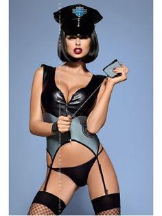 Police 5Pcs Corset www.lintimo.ch | Hände hoch, Polizei! Das Polizei Kostüm von Obsessive ist das richtige für böse Jungs. Das Police Kostüm besteht aus einer Corsage, einem String Tanga, einer Polizeimütze und Handschellen. Die Handfesseln sind an der Innenseite mit Fell besetzt. | #woman #fashion #lintimo #lintimolingerie #lingerie #model #dessous #dress #kleider #body #sexy #blue #white #gray |