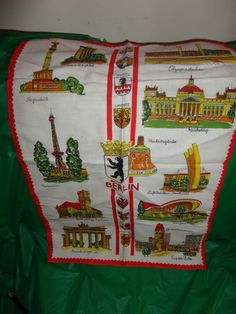 Berlin Germany Cloth with famous Landmarks 17.5 x 28 Vintage decor find me at www.dandeepop.com