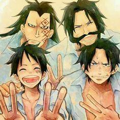 Ace, Gol, Luffy et Dragon - One piece