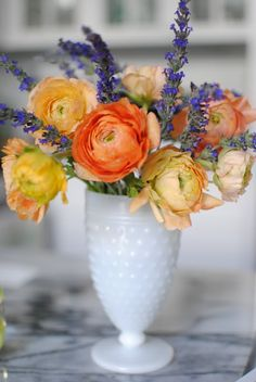 love the colors & the milk glass vase