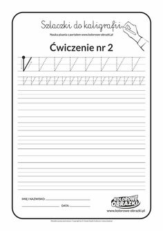 Kaligrafia dla dzieci - Ćwiczenia kaligraficzne / Szlaczki / Ćwiczenie nr 2