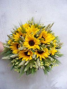 bouquet di girasoli, spighe e statice