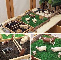 Animal Activities, Infant Activities, Activities For Kids, Montessori Playroom, Montessori Activities, Sensory Boxes, Sensory Play, Small World Play, Farm Theme