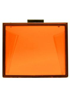 LYDC London Box Style Neon Orange Crystal Perspex Clutch Bag