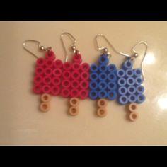 Popsicle perler bead earrings.