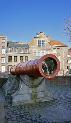 "Dulle Griet (""Mad Meg"") is a Medieval super-cannon (first half of 1400s) named after the folklore figure Dull Gret. Today the bombard is set up near the Friday Market of Ghent, Belgium."