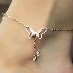 Rose Gold Butterfly Rhinestone Sandal Anklet
