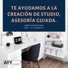 Mira nuestros planes que tenemos para crear un estudio.  Info: + 57 3114001513  www.ayystudio.com Office Desk, Furniture, Home Decor, Bucaramanga, Lights Camera Action, Create, Studio, Desk Office, Decoration Home
