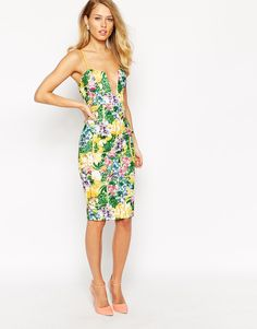 Image 1 of Ginger Fizz Corsage Body-Conscious Dress In Tropical Floral Print