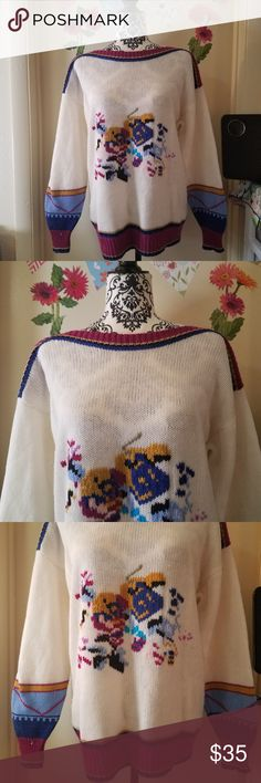 """Vintage KORET Knit Acrylic Pullover Sweater M EUC Vintage KORET Knit Long Sleeve Pullover Sweater Women White Multicolor M Excellent Used Condition   Beautiful  vintage, classic long sleeve pullover/sweater  100%  Acrylic  Measurements:  Length: 28"""" in Bust: 23"""" in  Thank you for looking!  O-T05 Koret Sweaters Crew & Scoop Necks"""