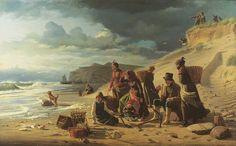 Bloch, Carl- Fiskerfamilier, som venter deres mænds hjemskomst ved et frembrydende uvejr. Fra Jyllands vestkyst.jpg
