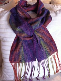Flame Stitch Orange  Purple Handwoven Scarf by estherbudd on Etsy, $110.00  Listing no longer available