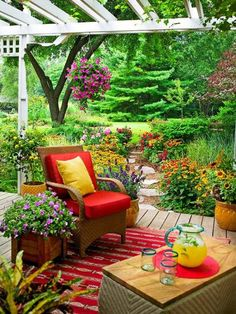 backyard garden setting- chair and coffee table- relaxing place... #urbanzealplanters #urban #planting...