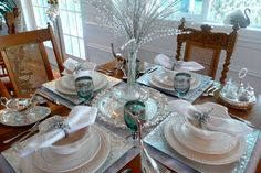 French Flair table setting: silver and white makes this a great Christmas setting.