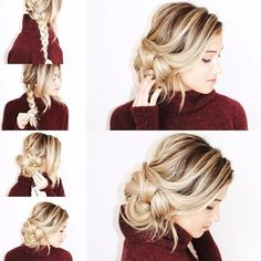 Easy side bun made from braid. Made on blonde hair