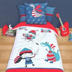 Dragon bedding Pure cotton - boy- Blue Dragono - Selene et Gaia