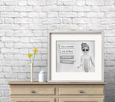 Nursery Wall Art | 8X10 | Change the World | Acrylic Painting | Baby Shower | Portrait Painting | Black and White | Girls Room | Yoko Ono by AriaMarliART on Etsy